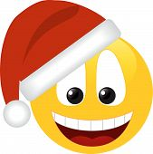 image of smiley face  - Smiling smilie in a hat santa isolated on a white - JPG