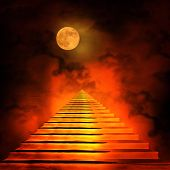 stock photo of entryway  - Staircase leading to heaven or hell - JPG