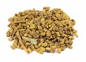 pic of fenugreek  - Close up view at group of fenugreek seeds - JPG
