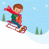 pic of toboggan  - A child rides a toboggan down holding Christmas gifts - JPG