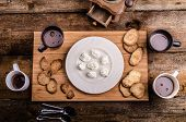 stock photo of cream puff  - Homemade hot chocolate homemade butter cookies cream puffs - JPG