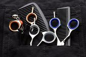 pic of taper  - professional tools of hairdresser in black case - JPG