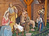 picture of nativity scene  - Details of nativity scene with stable - JPG