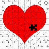 pic of broken hearted  - A red heart puzzle without one piece good image for a broken heart love romance and Valentine themes - JPG