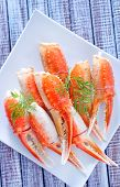 image of cooked blue crab  - crab claws with fresh dill on white plate - JPG