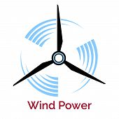 image of turbines  - power making company logo with wind turbine isolated on white - JPG