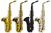 stock photo of trombone  - vector set of four saxophones of different colors - JPG