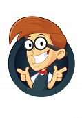 stock photo of dork  - Clipart Picture of a Nerd Geek Cartoon Character with Two Gun Finger Gesture - JPG