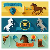 stock photo of saddle-horse  - Horizontal banners with horse equipment in flat style - JPG