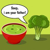pic of vegetable soup  - Funny comic with broccoli and vegetable soup over green background with dialogue - JPG