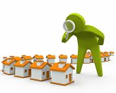 picture of inspection  - 3D person inspecting houses using magnifying glass - JPG