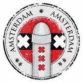 stock photo of bollard  - Grunge stamp with bollard symol of Amsterdam and flag vector illustration - JPG