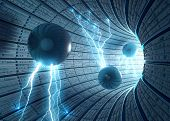 image of science fiction  - Inside an abstract tunnel with electric spheres - JPG
