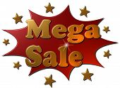picture of explosion  - A 3D red metallic explosive sign with golden stars and text  - JPG