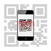 picture of qr-code  - Mobile Smart Phone with QR Code Isolated on White Background - JPG