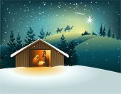 picture of nativity scene  - Christmas nativity scene with holy family  - JPG