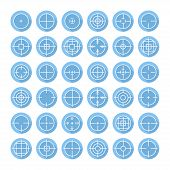 stock photo of crosshair  - Set of different flat vector crosshair sign icons with long shadow - JPG