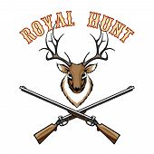 foto of taxidermy  - Royal hunt vintage label with a stags head trophy above crossed guns  vector illustration on white - JPG