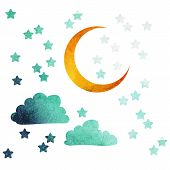 picture of moon stars  - moon and stars of watercolor - JPG