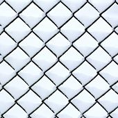 picture of chain link fence  - Chain link fence covered with fresh fluffy snow - JPG