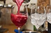stock photo of alcoholic drinks  - alcohol drinks on bar - JPG