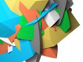 pic of fragmentation  - Abstract colorful chaotic polygonal fragments on white background - JPG