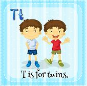picture of letter t  - Letter T is for twins - JPG