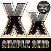 picture of letter x  - Vector set of chic black font with diamonds and  gold border - JPG