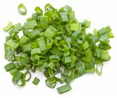 foto of scallion  - chopped spring onion or scallion isolated on white background cutout - JPG