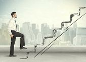 picture of climb up  - Business man climbing up on hand drawn staircase concept on city background - JPG