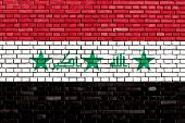 foto of iraq  - flag of Iraq painted on brick wall - JPG