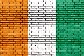 picture of ivory  - flag of Ivory Coast painted on brick wall - JPG