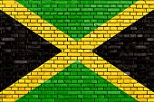 foto of jamaican flag  - flag of Jamaica painted on brick wall - JPG