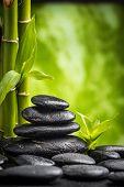 picture of zen  - zen basalt stones and bamboo  - JPG
