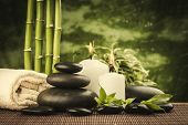 picture of zen  - zen basalt stones and bamboo on the black - JPG