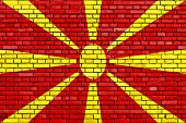 picture of macedonia  - flag of Macedonia painted on brick wall - JPG