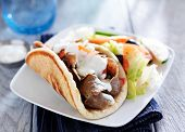 image of greek  - gyro with greek salad and tzatziki sauce - JPG