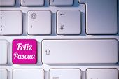 foto of pasqua  - feliz pasqua against pink key on keyboard - JPG