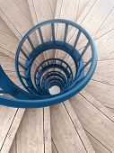 stock photo of balustrade  - Spiral wood stairs with blue painted balustrade - JPG