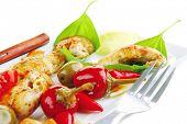 stock photo of brisket  - served roast chicken brisket on green leaf of basil - JPG