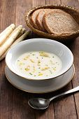 stock photo of white asparagus  - spargelcremesuppe - JPG