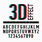 stock photo of alphabet  - 3D effect alphabet and numbers - JPG