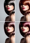 foto of hair cutting  - Collage of a beautiful young woman  - JPG