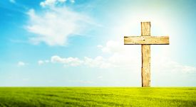 pic of green-blue  - One cross in morning green field with blue heaven  - JPG