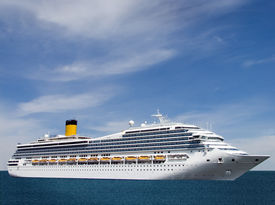 picture of cruise ship  - Cruise ship floating on the sea - JPG