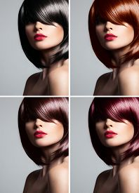 picture of hair dye  - Collage of a beautiful young woman  - JPG