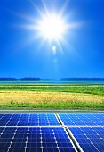 stock photo of solar battery  - solar cell array in the field renewable energy - JPG