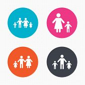 Постер, плакат: Family with two children sign Parents and kids