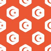 stock photo of crescent-shaped  - Image of crescent moon and one star in white hexagon - JPG