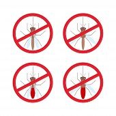 foto of mosquito  - stop mosquito sign in red circle - JPG